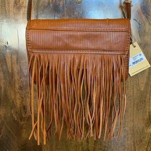 "Patricia Nash Brown Leather Fringe Crossbody 8""x5"""